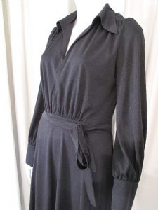 1970's Black trevira jersey shirt style vintage midi dress BETTY BARCLAY